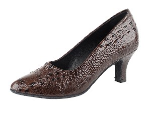 "SERA5513 Coffee Brown Croc with 2.5"" low heel in the photo"