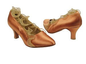 "SERA5517 Tan Satin with 2.5"" low heel in the photo"