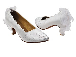 "SERA5518 White Satin with 2.5"" low heel in the photo"