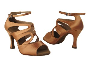 "SERA7039 Tan Satin with 3"" heel in the photo."