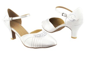 "SERA1397 White Satin with 2.5"" low heel in the photo"
