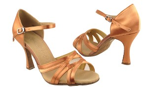 "SERA1398 Tan Satin & Flesh Mesh with 3"" heel in the photo"