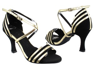"SERA1700 Black Suede & Light Gold Trim with 3"" heel in the photo"
