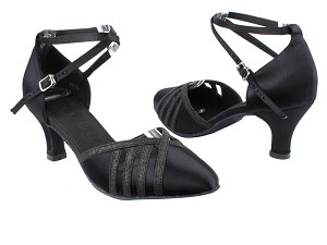 "SERA3530 Black Satin & Black Stardust Trim with 2.5"" low heel in the photo"