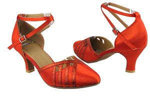 "SERA3530 Red Satin & Red Stardust Trim with 2.5"" low heel in the photo"