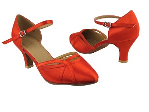 "SERA3540 Red Satin with 2.5"" low heel in the photo"