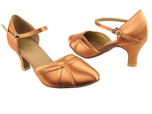 "SERA3540 Tan Satin with 2.5"" low heel in the photo"