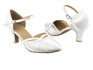 "SERA3540 White Satin with 2.5"" low heel in the photo"