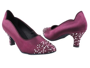 "SERA5501 Purple Satin with 2.5"" low heel in the photo"